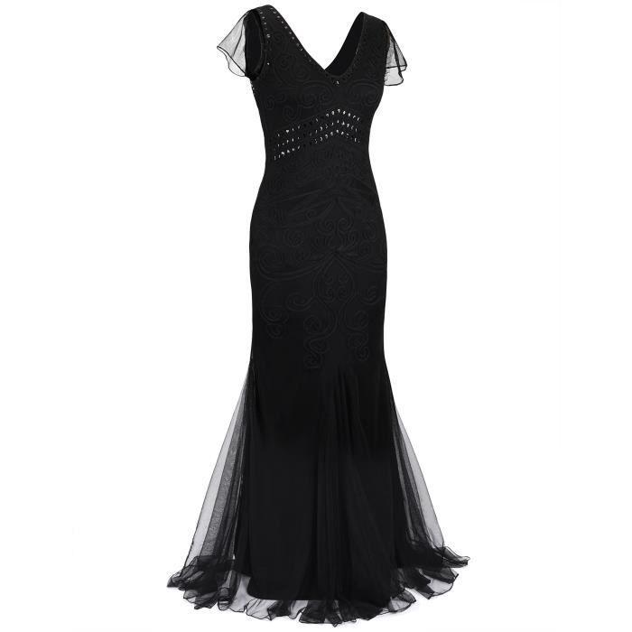 Les années 1920 femmes robe de bal longue sirène Robe de Soirée formelle 2LTZ22 Taille-34