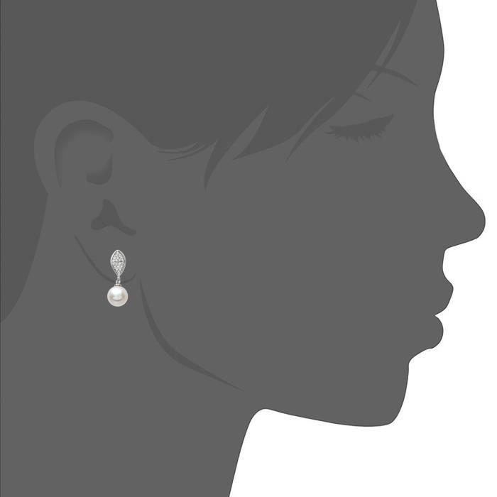 Ser1402 - Boucles Doreilles Femme - Argent 925-1000 1.1 Gr - Oxyde De Zirconium - Perle Deau Douce P84LY