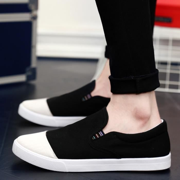 chaussures multisport Homme de sport Casual Canvas Slip sur Mocassins blanc taille8.5