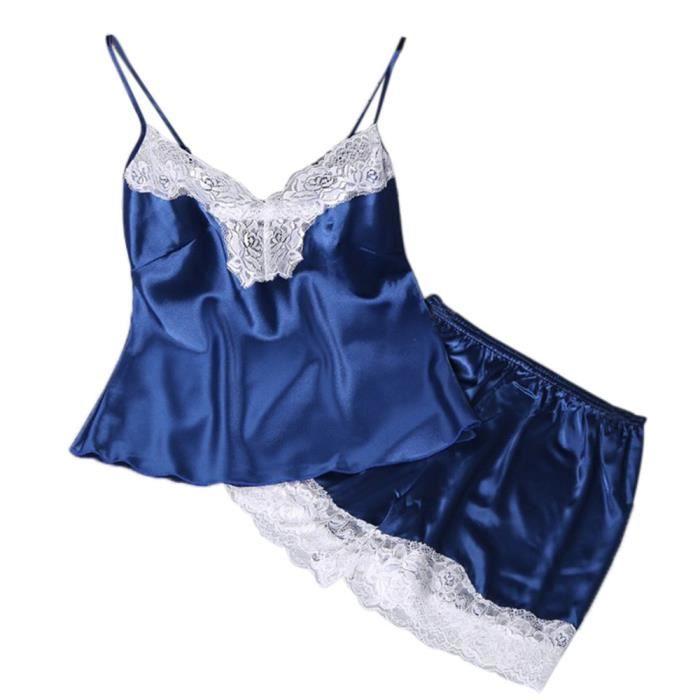 Set Nuit Babydoll Chemise 2pc Sous Pyjamas bleu vêtements Lingerie De Femmes xzCTwgTq