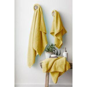 FINLANDEK Set de 2 Draps de douche 70x140 cm + 1 serviette de toilette 50x100 cm KYLPY jaune moutarde