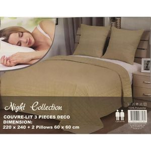 JETÉE DE LIT - BOUTIS Couvre-lit boutis uni taupe pour un lit de deux pe