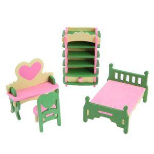 MAISON POUPÉE 1 set - 4 pcs bebe en bois Dollhouse meubles poupe