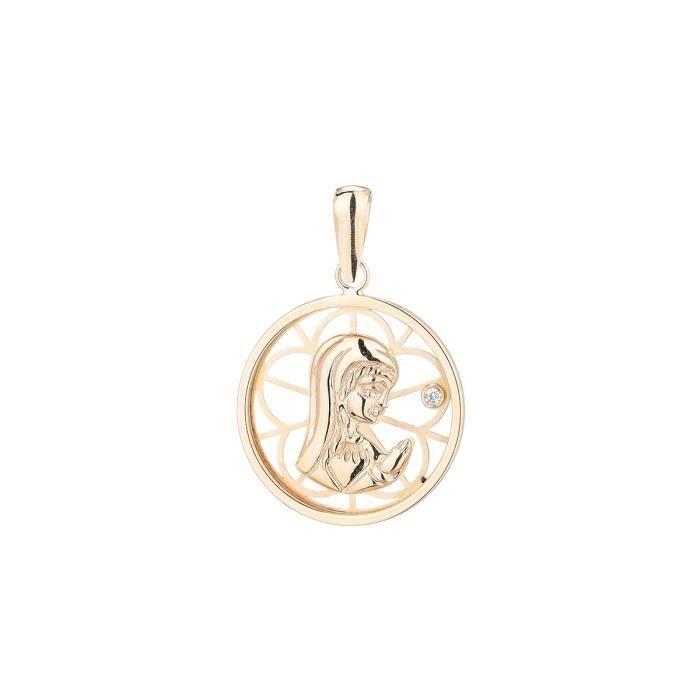 YSORA - Médaille Vierge en Or Jaune 9 Carats et Oxyde - Enfant