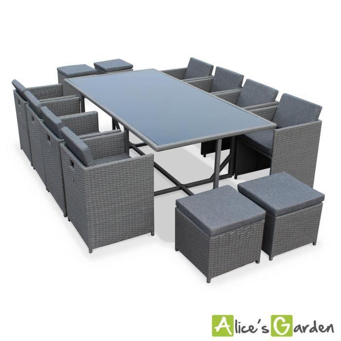 Salon de jardin 8 12 places vasto coloris gris coussins gris chiné table encastrable cube