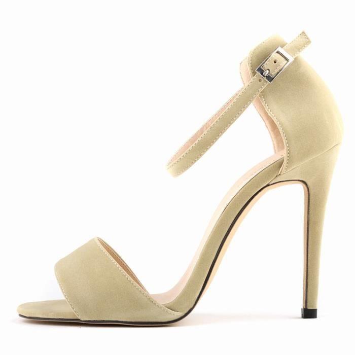 Nouvelle decontractee peep-toe pour Femme Sexy Stiletto Sandales a hauts talons en ete Beiges taille 35