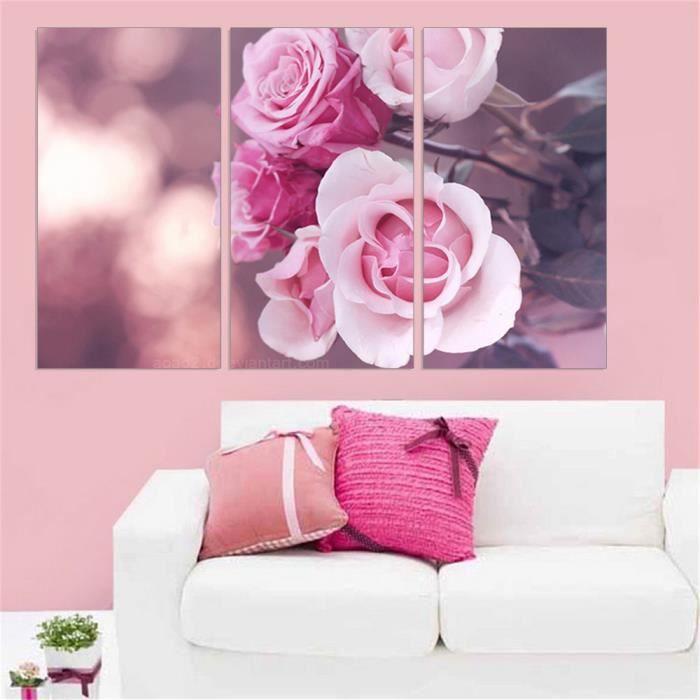 Non Encadrée Peinture Moderne Fleur Pourpre Photo Imprimée Mur Paysage Toile Peinture Pour Décor De Chambre 3 Panneau