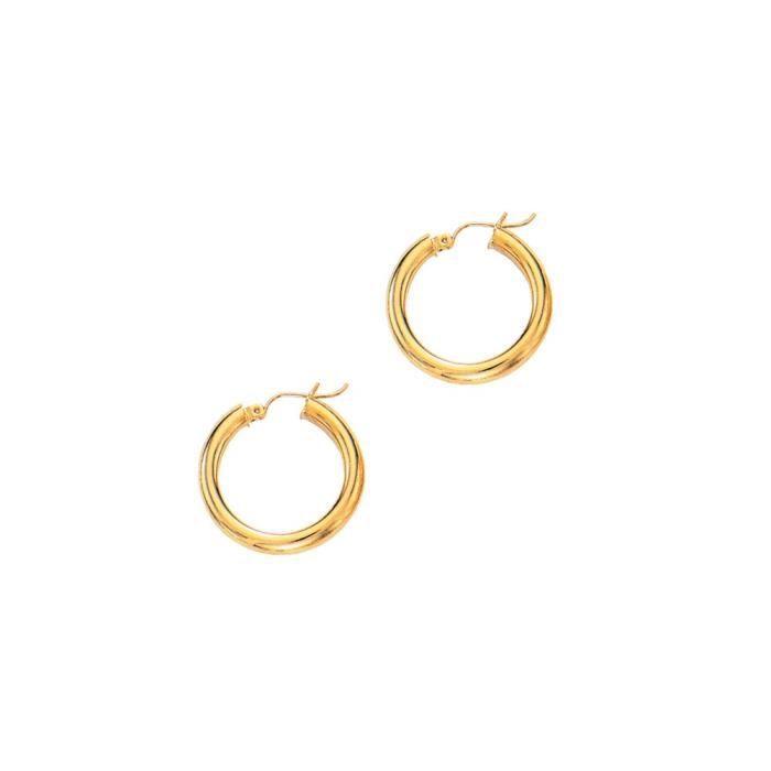 Jaune 14 carats - 4 mm-Boucles dOreilles Créoles