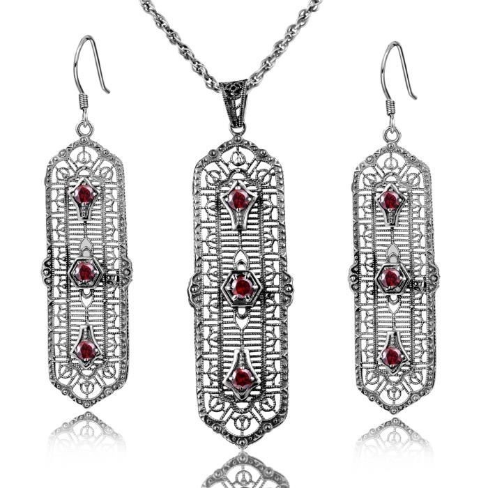 Parure -1000-925 Argent-Boucles dOreilles Pendentif- Femme-Grand- Rubis-Vert-Style-rétro