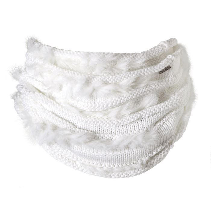 Col blanc maille et fourrure véritable Barts Mo… Blanc - Achat ... 8d5946ed9fb