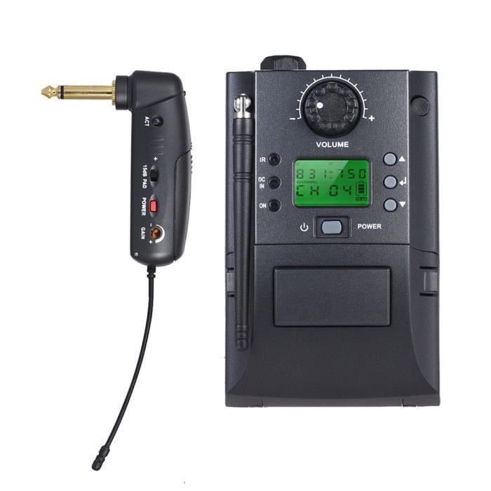 Système De Microphone Uhf Sans Fil Ammoon Récepteur Émetteur 32 Canaux Pour Guitare Électrique