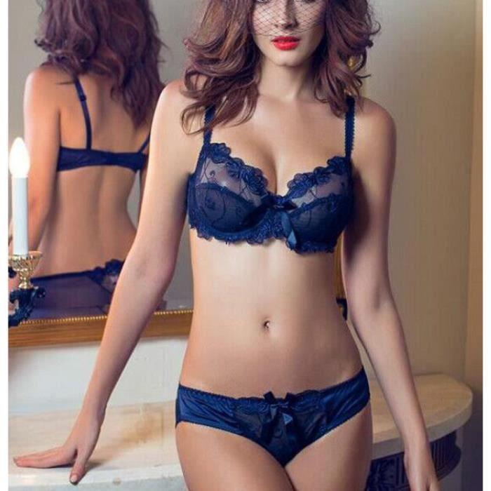 Sexy femme Ensemble soutien-gorge Bleu Bleu
