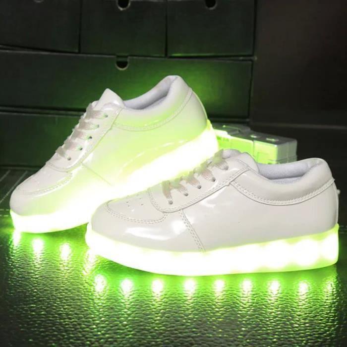 Enfant 7 Couleur USB Charge LED Lumière Lumineux Clignotants lumineux espadrille Baskets Garçons et filles Chaussures Blanc zebBoX