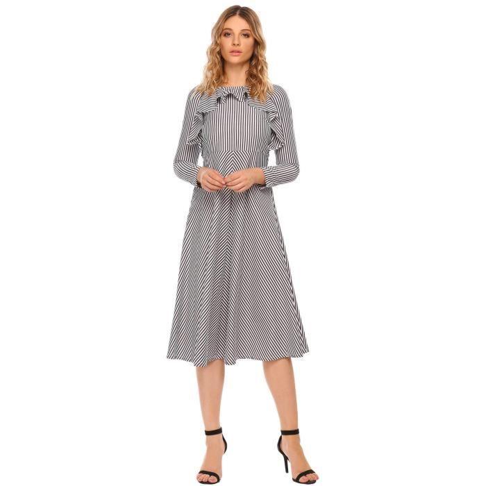 Midi Robe Femmes Longue Manches Ruffles Striped Fit et Flare Casual partie avec ceinture