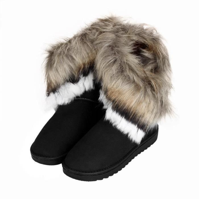 exquisgift®Mode bottes plate fourrure doublé hiver chaudes chaussures de neige NOIR~ZLY60929781BK
