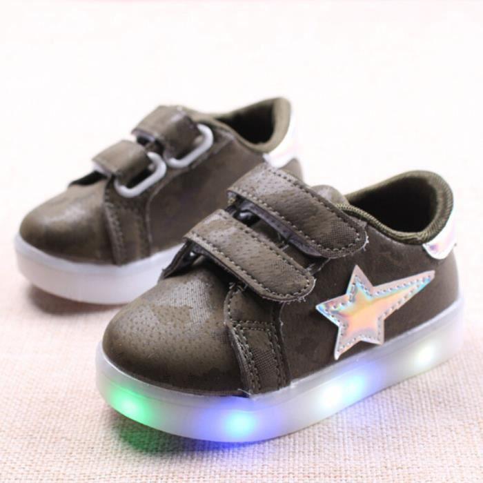 BOTTE Baskets bébé Fashion Sneakers Star lumineux enfant Casual chaussures légères colorées@VertHM O6fubatQOb