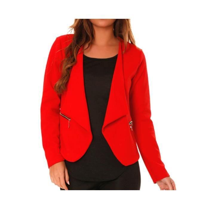 87db4f850242 Poches Rouge Veste Dmarkevous Et De Zip Avec Blazer Doré Femme nTYTgwaq