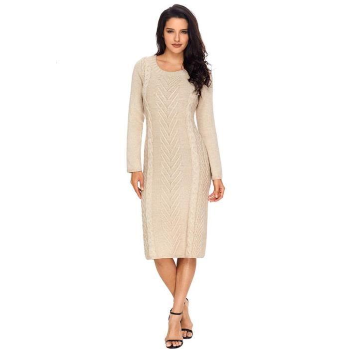 e7d6c9ab66f Femme Robe Pull en Maille Torsadé Automne Hiver Tops Elegant Manches  Longues Couleur Unie