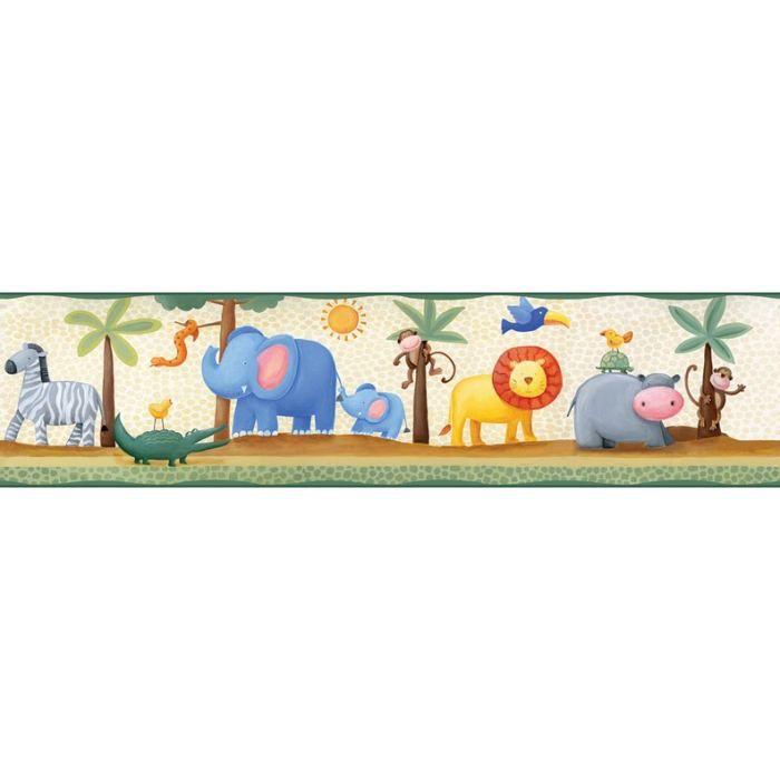 Frise adh sive animaux du zoo 4 57m x 12 7cm achat - Cenefas de papel infantiles ...