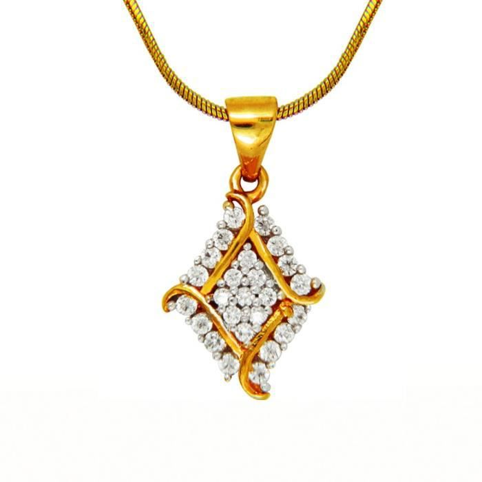 Womens Gold Plated Barfi Pendant Set With Cz For Nl4101565g P1V7O