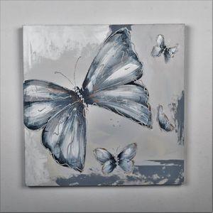 TABLEAU - TOILE Tableau déco Papillons  2 -  Toile peinte à la mai