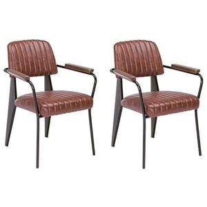 NELLY Lot de 2 fauteuils de salle ? manger orange foncé vintage - L 60 cm x P 63 cm