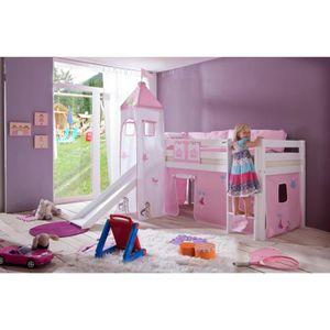 Lit mezzanine princesse achat vente lit mezzanine princesse pas cher soldes d s le 10 - Lit chateau de princesse avec toboggan ...