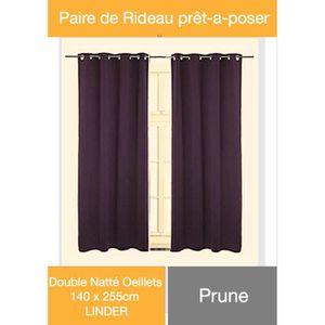 RIDEAU Paire Rideaux PRUNE Double Natté Oeillets 140x255