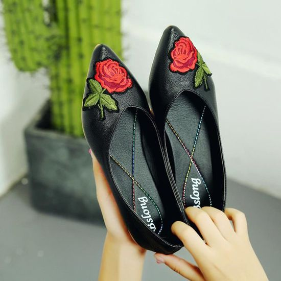 Femmes Fleur Flats Slip tissu Chaussures Casual Chaussures bout pointu de travail de mariage Noir Noir Noir - Achat / Vente slip-on