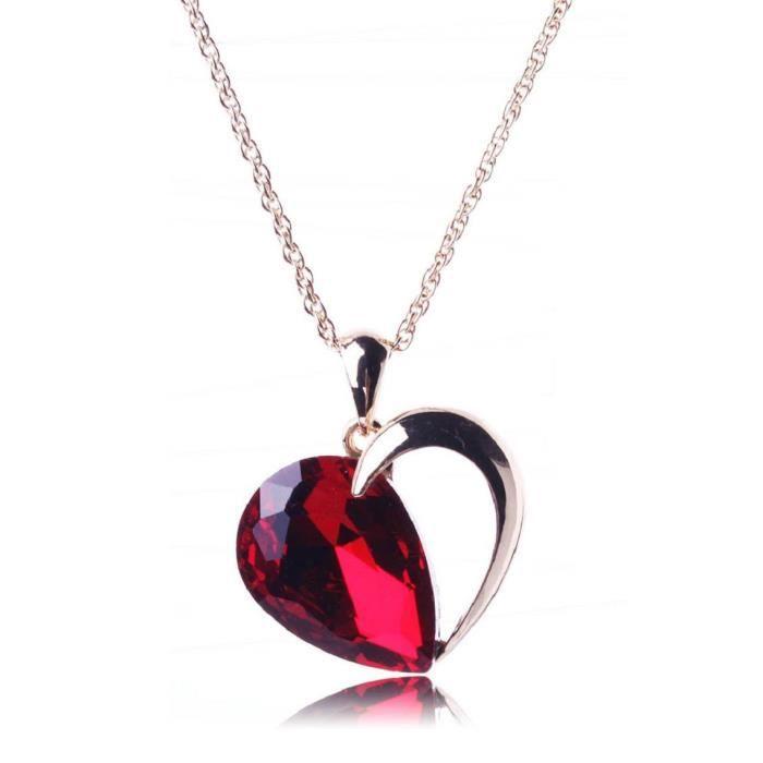Femmes en or rose coeur rouge Feu Noir et blanc pendentif en cristal collier pour &HV5JJ