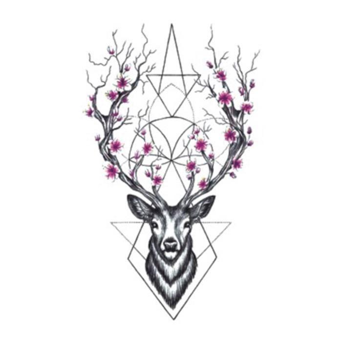 tatouage temporaire - éphémère réaliste - motif cerf rose - achat