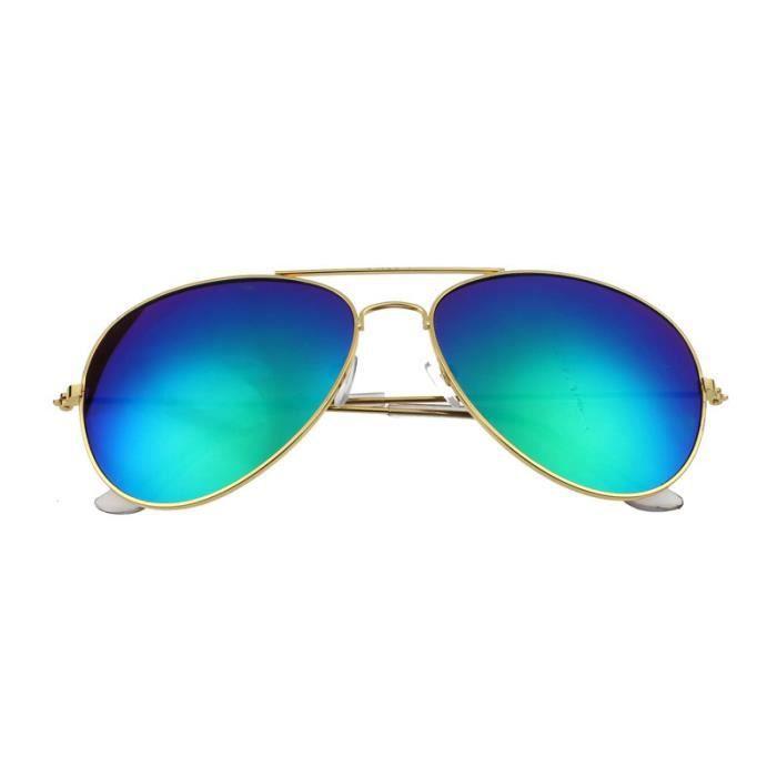 Femmes hommes Classic lunettes de soleil rétro unisexe cadre métallique dore +vert