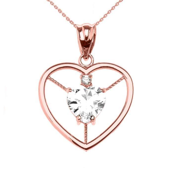 Collier Femme Pendentif Élégant 10 Ct Or Rose Diamant et Avril Pierre De Naissance Blanc Oxyde De Zirconium Cœur Solitaire (Livré...