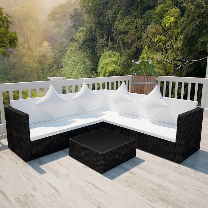 Salon de jardin avec canapé 2 places en polyrotin noir - Achat ...