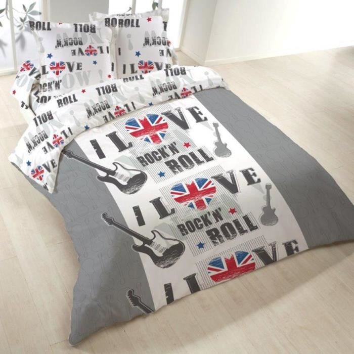 Housse de couette 220x240 london rock 2 taies achat for Housse de couette rock and roll