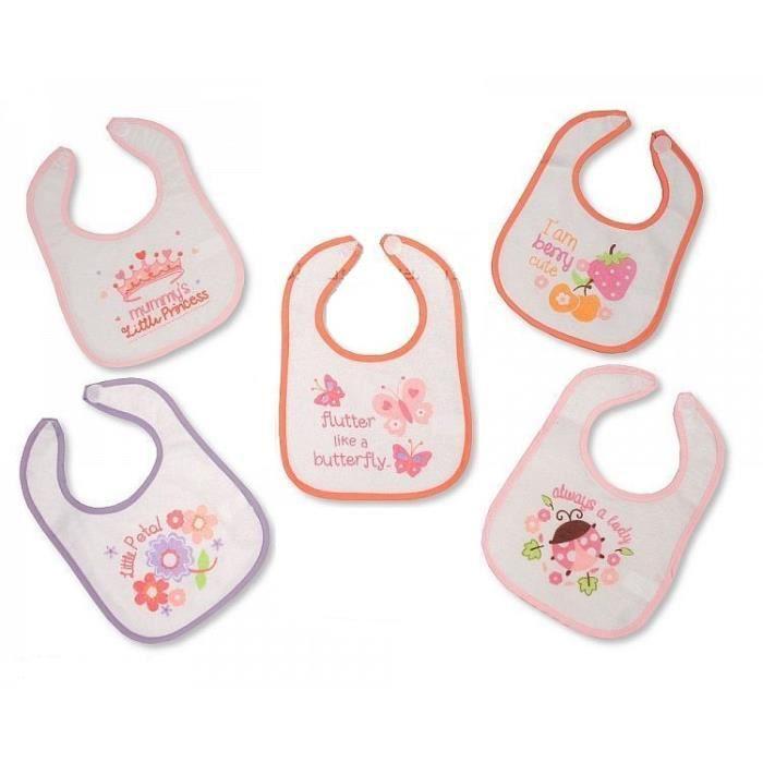 5165f865936c3 Lot de 5 bavoirs bébé fille doublés pvc naissance premiers mois Rose ...