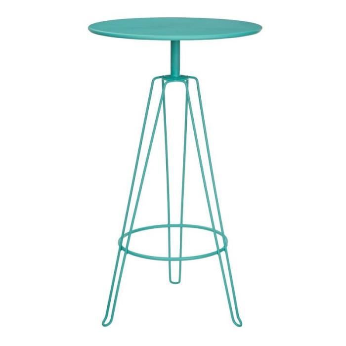 Table haute de jardin LENATO en métal turquoise - L 60 x l 60 x H 105