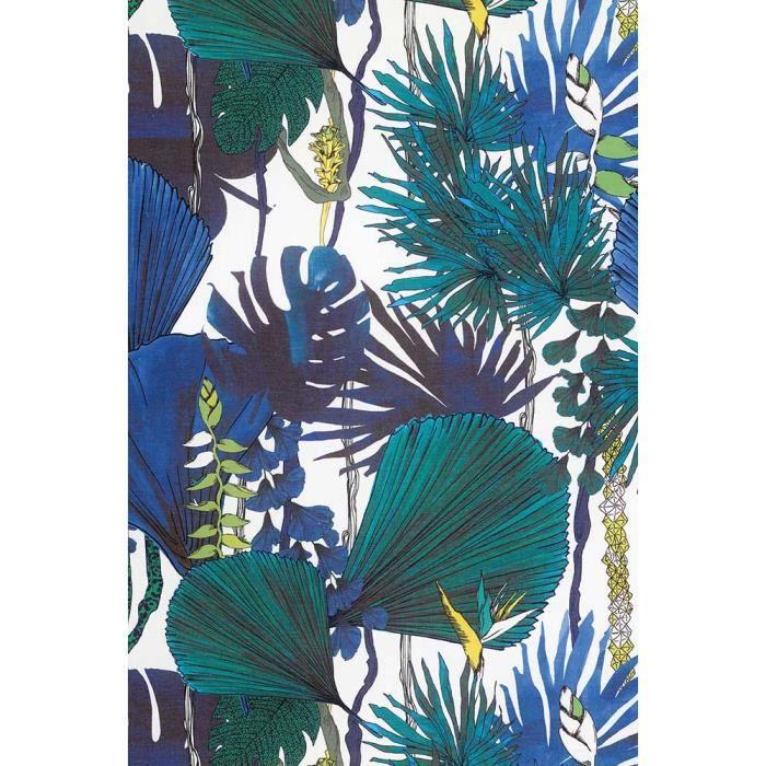 Rideau A Motifs Jungle Tisse En France Bleu 140 X 240 Cm Achat