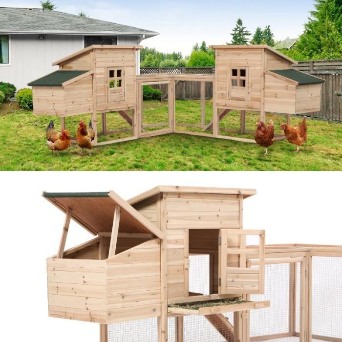 POULAILLER Poulailler d'angle FAMILY avec 2 pondoirs en bois