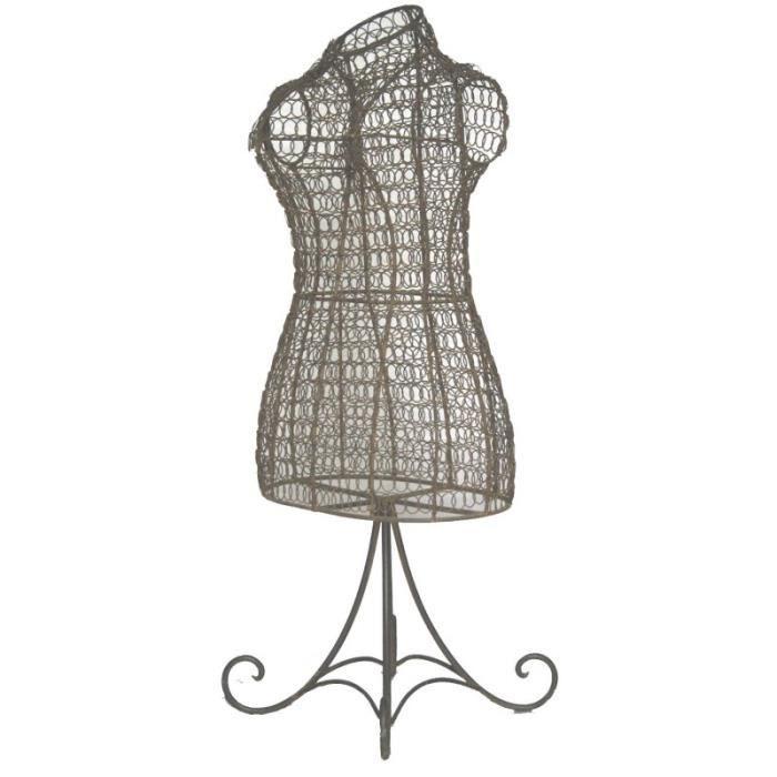 petit buste de couture ou mannequin porte bijoux poser en fer boucl grillag patin marron. Black Bedroom Furniture Sets. Home Design Ideas