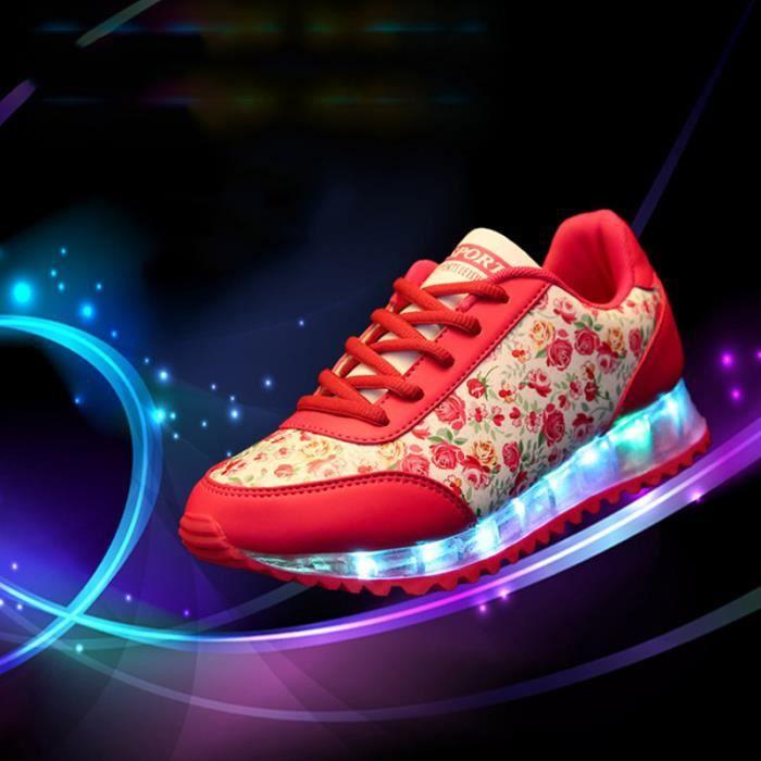 Femme 7 Couleur USB Charge LED Lumière Lumineux Clignotants Chaussures de Sports Baskets iyo8IVco0