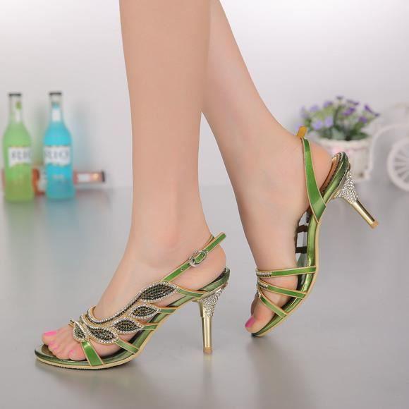 Nouvelle feuille verte bohême strass cloutés sandales fines chaussures de mariage mariée sh3B36