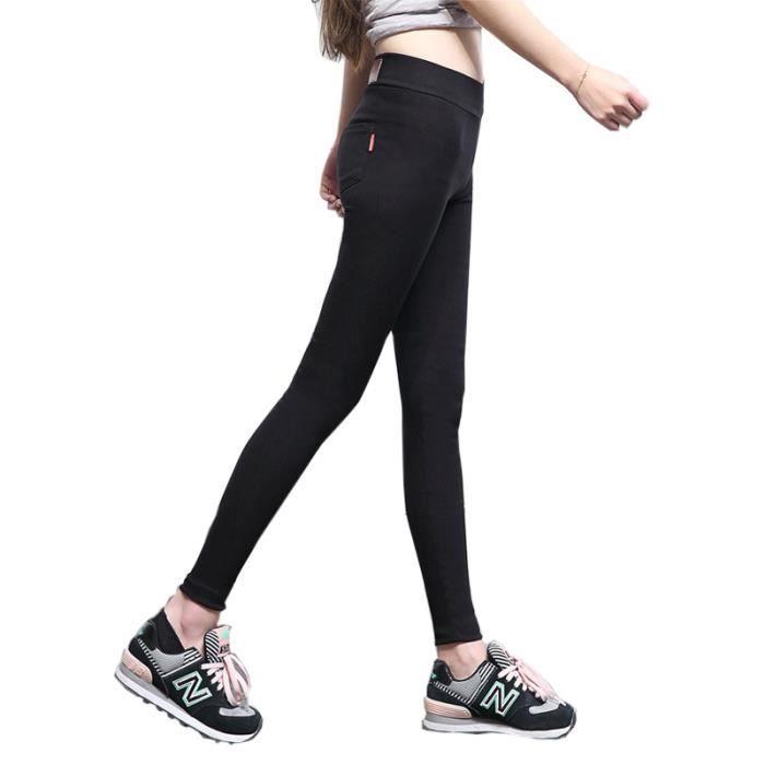SIMPVALE Legging taille haute femme élastique Noir - Achat   Vente legging  - Cdiscount 41835ff4a8e