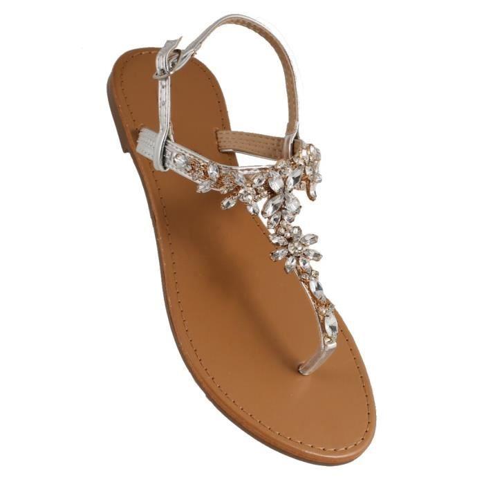 Sandales bijoux strass Argent - Achat   Vente sandale - nu-pieds ... e33a4bdb7d8a