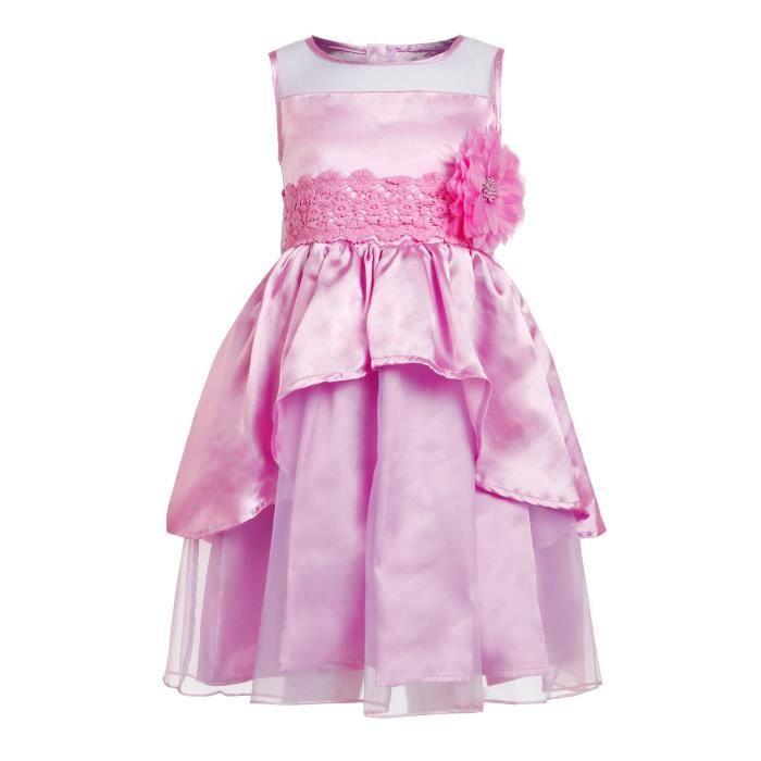 robe de fille O-cou sans manches fleur