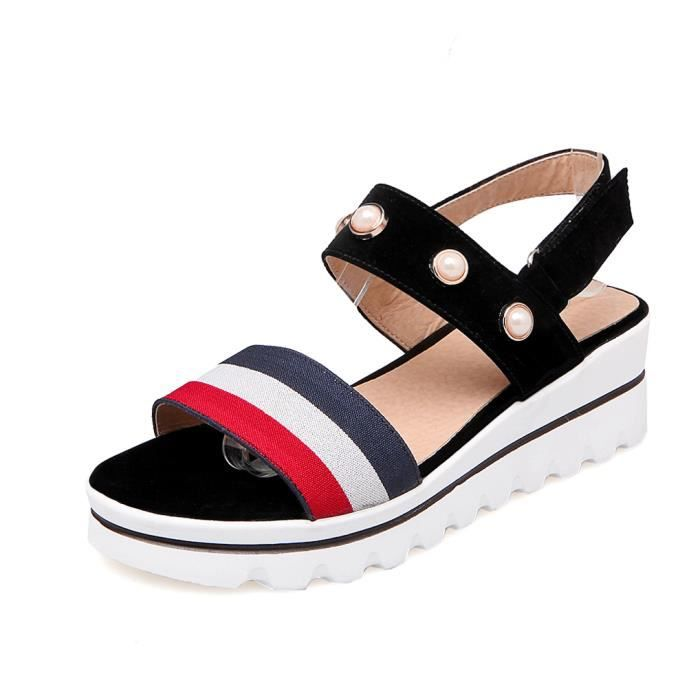 Oaleen Sandales Bout Ouvert Femme Perles Lanièred Scratch Chaussures ... 91bbe3258fa