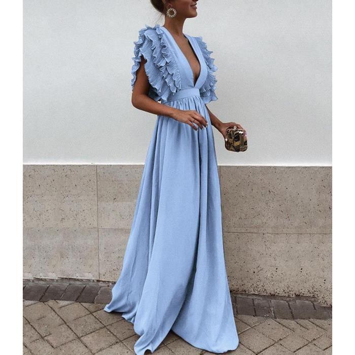 d2d1df1f8c0 Femme Robe Chic Longue Col V à Fleur Manches Courtes en Coton Robe Maxi de  Plage D été Casual Bleu