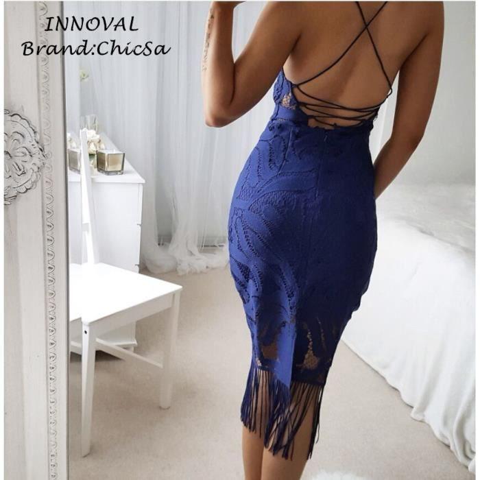 Vêtements Européen Spaghetti Strap Robe Sexy Femme Couleur Unie Gland Dos nu Fête Mariage Robe dété Sangles Robe en Dentelle