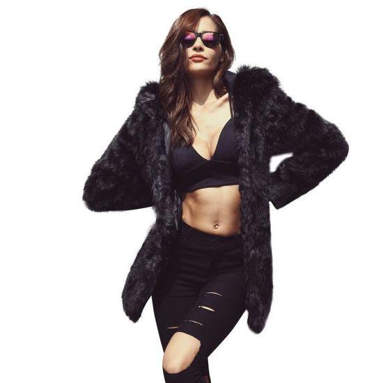 Mink Parka Long Veste En Manteau Hsw71023453 Fourrure Femmes Chaud Fausse Fox Cardigan Outwear coat661 Noir Épaississement vwqEnSTxxz