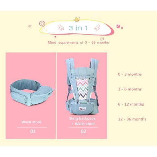 Porte bébé réglable 3 en 1 Sac à Dos Respirant avec Poches 3 Positions de  Transport Siège à hanches Support à dos Appui-tête Vert - Achat   Vente porte  bébé ... bab1f04e272
